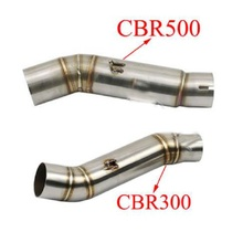 CBR300 CBR500 CBR500R Motorcycle Exhaust Contact Middle Pipe Connector Link Tube For Honda CBR300 CBR500 CBR500R 2012 2013 2014 motorcycle exhaust contact middle mid link pipe connector for aprilia rsv4 factory aprc 2012 2013 2014 2015 100% brand new