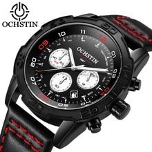 OCHSTIN 2019 Casual Sport Watches for Men Top Brand Luxury Military Leather Wrist Watch Man Clock Fashion Chronograph Wristwatch