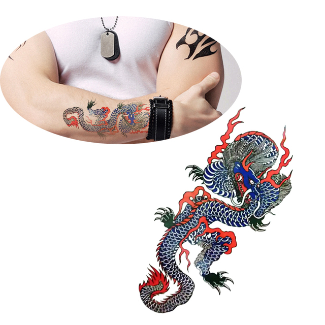 d44396345 Chinese Blue Dragon Tattoo Designs for Mens Body Art Waterproof Temporary Tattoo  Stickers Cool Stuff Decor Makeup