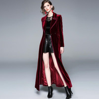 2019 S XXL SPRING Runway Designer Women Vintage wine red Velvet Coat Thick Warm X Long Trench Coat Outwear H25