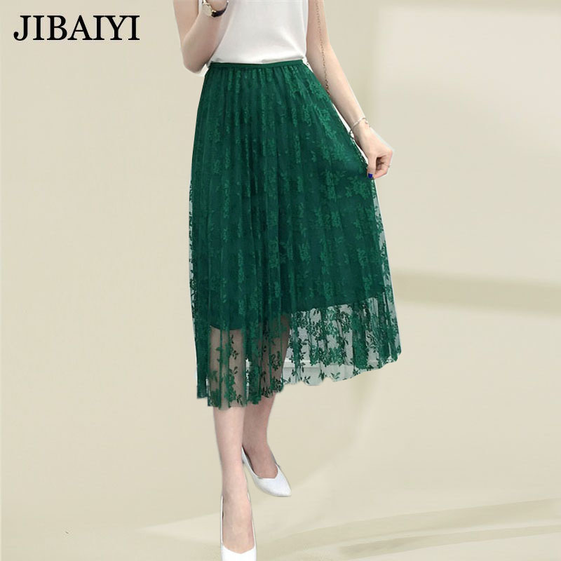 Vintage lace pleated skirt summer spring woman long skirts elastic high waist skirts female fashion party A-line maxi skirts