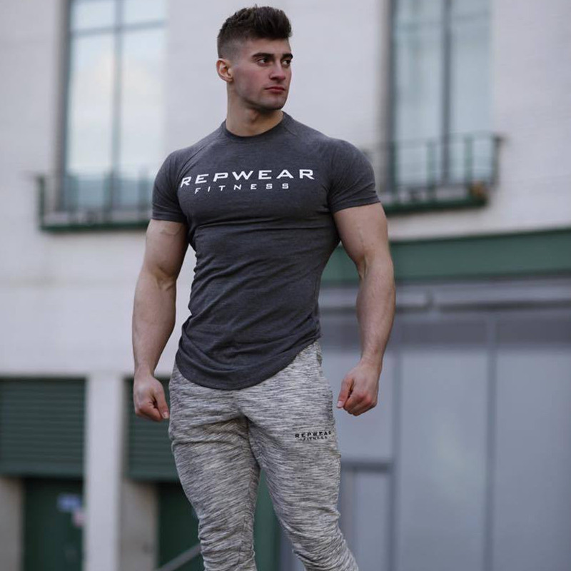 2019 New summer shirt cotton gym fitness men t-shirt brand clothing Sports t shirt male print short sleeve Running t shirt 2