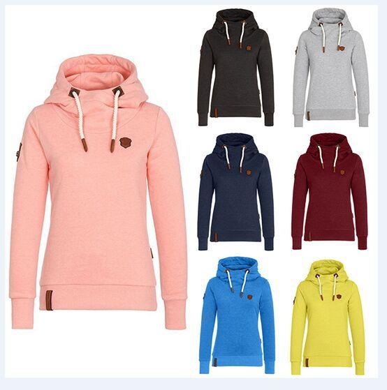 S-3XL femmes automne hiver hauts à capuche blouse décontracté loisirs couleur pure marque à capuche blouse hauts grande taille