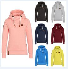S-3XL women autumn winter hooded tops blouse casual leisure pure color brand hoodeed plus size