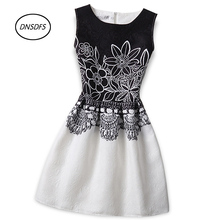 Summer Dress for Girl Women flower Print Style Sleeveless Vest A-Line Dresses Ladie Vintage Plus Size Girl  Eroidery Clothing