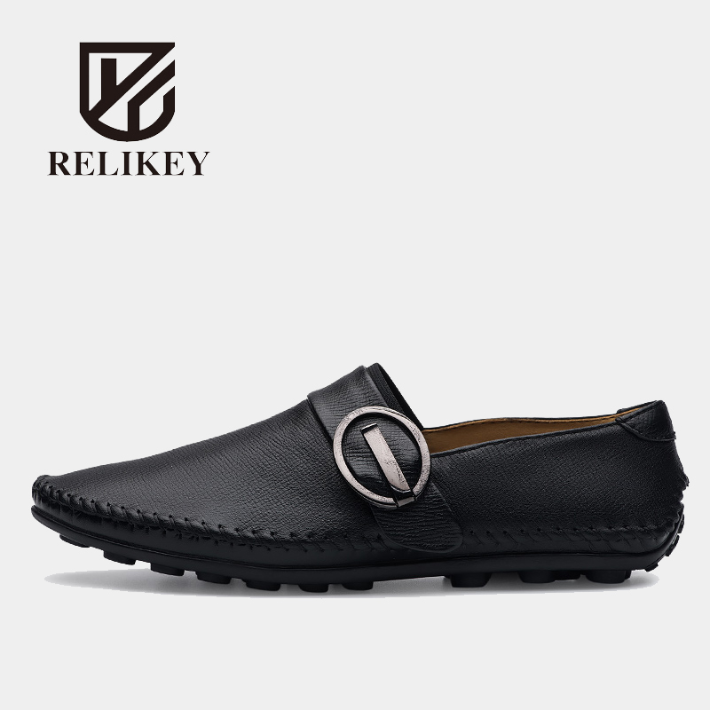 RELIKEY Brand Soft Men Loafers Classics Sewing Handmade Genuine Cow Leather Brown Moccasins Hasp Driving Shoes for Men relikey brand classics men loafers genuine cow leather slip on casual male moccasins new big size leisure driving shoes for men