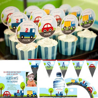 Customized Birthday Party Decorations Trunk Car Theme Boys Kids Party Name Photo Printed Invitation Welcome Banner