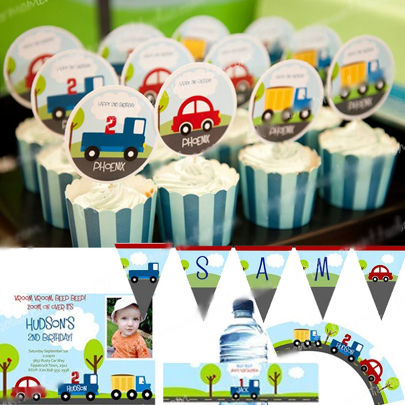Customized birthday party decorations,trunk car theme boys kids party,name photo printed invitation welcome banner thanks cards