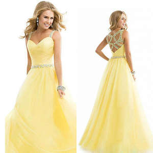 0f46b0ee86 Long Chiffon Formal Gown Wedding Prom Party Dress Yellow