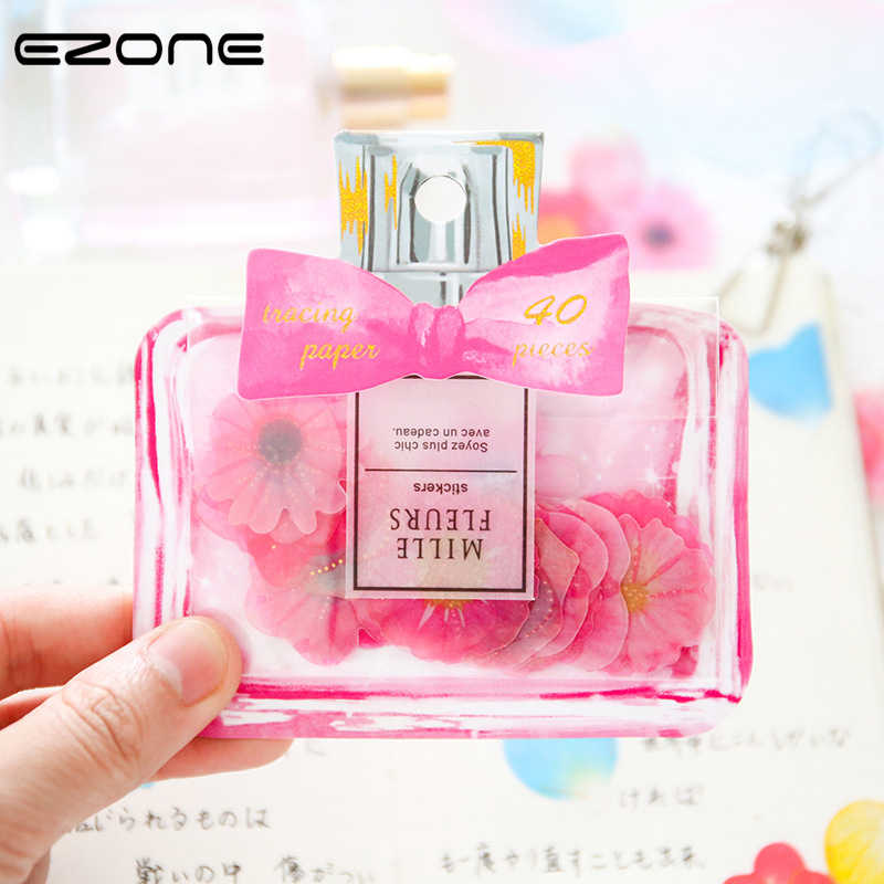 EZONE Flowers Sticker Cute Candy Color Perfume Bottle Sticker Daisy/Rose/Clover Shape For Children DIY Scropbook Album Supply