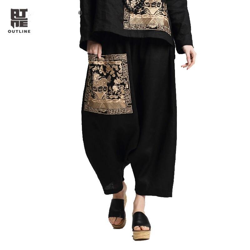 Outline Women Loose Sping Pants Vintage Linen Embroidery Patch Ankle-Length Hearm Pants Plus Size Elastic Waist Pants L171K002 ankle length elastic mens pencil pants