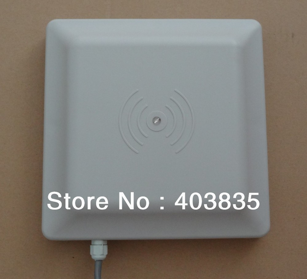 цена UHF RFID card reader long range, 8dbi Antenna RS232/RS485/Wiegand 26 Reader 1-5M Integrative UHF RFID Reader