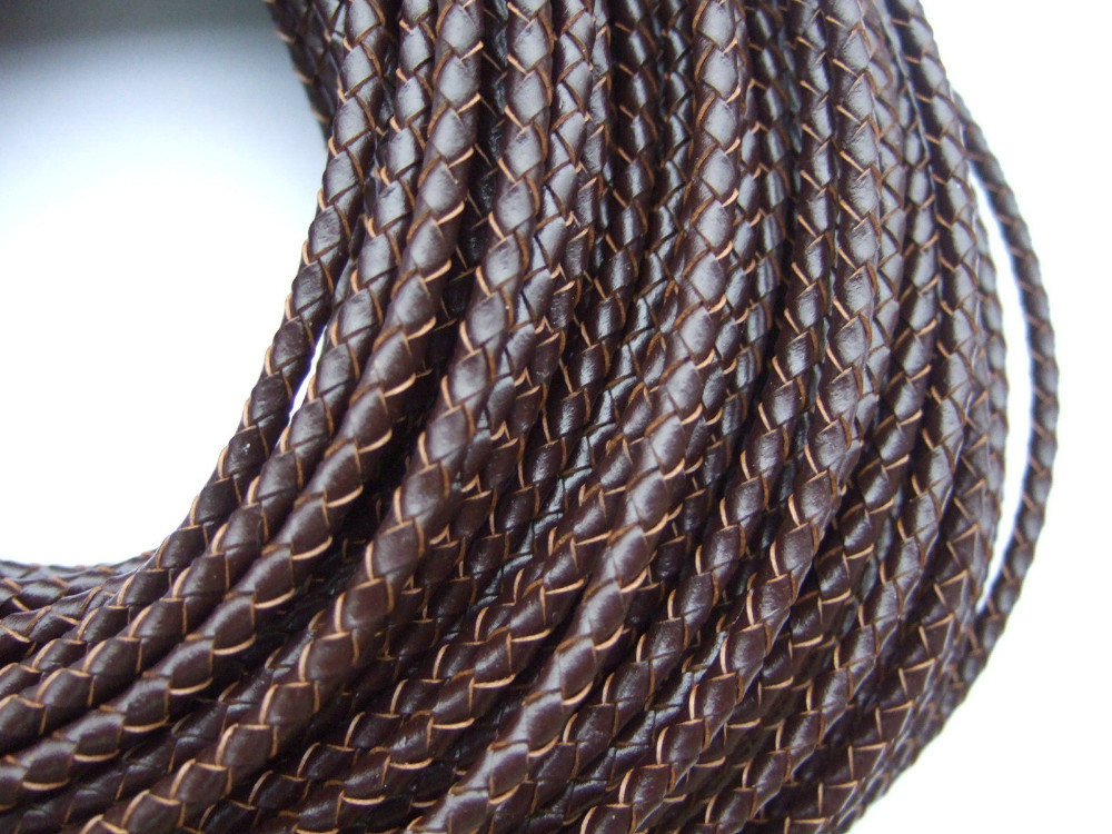 2//5M 5mm Natural Round Real Genuine Leather Cord String Lace Tong Jewelry Making