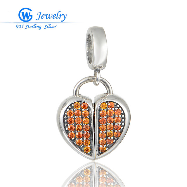 GW Fine Jewellery Fashion Women's 925 Sterling Silver Charm Cz Crystal Heart Pendants Fits For European Bracelets S385H20