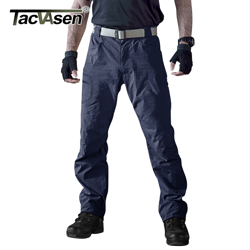 TACVASEN Men Waterproof Tactical Pants Elastic Cargo Pants Summer Clothing Quick Dry Climb Pants Military Trousers TD-JJYS-001