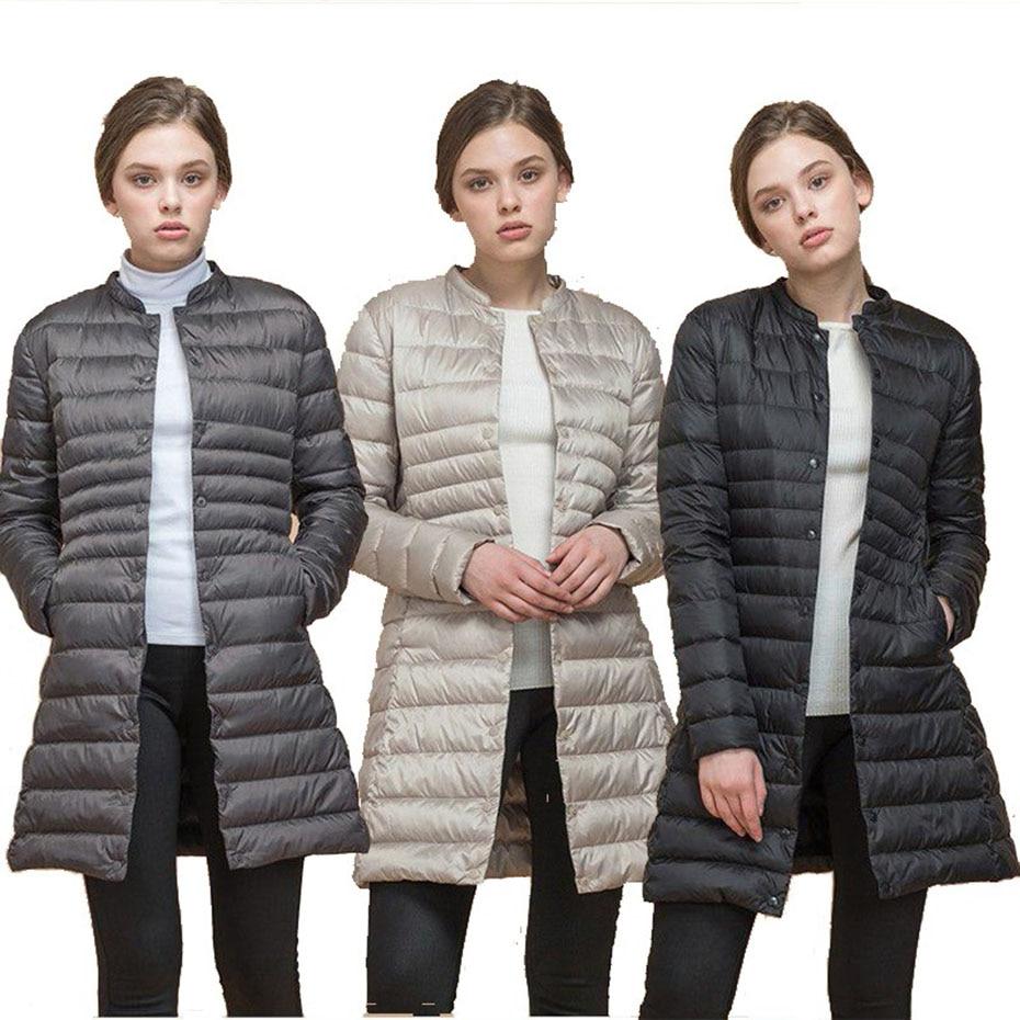 ZOGAA Woman Spring Padded Warm Coat Ultra Light Duck Down Jacket Long Overcoat Slim Solid Jackets Portable Parkas jacket