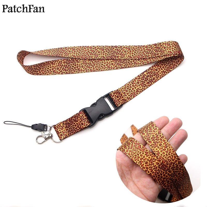 Patchfan leopard print keychain lanyard webbing ribbon neck strap fabric para id badge phone holders necklace accessories A1160