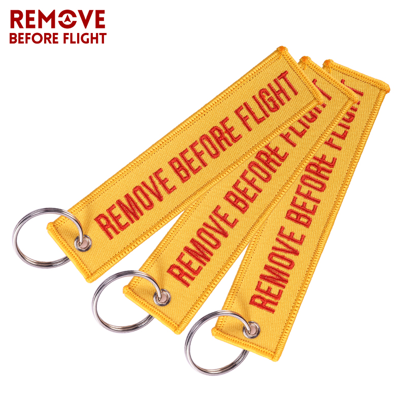 3PCS Remove Before Flight Car Keychain Orange Embroidery Key Ring Luggage Safety Tag Motorcycle Key Chains for Aviation Gift New