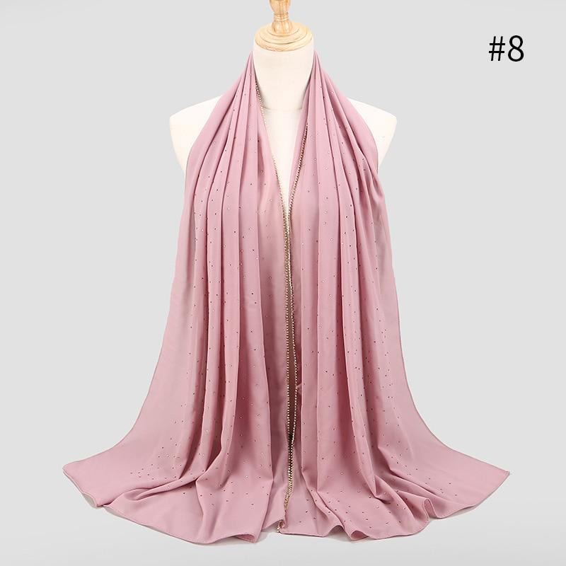 10 PCS/Lot 70*180 Cm Muslim Women's Hijabs Spring Summer Long Lady Chiffon Scarf Women Diamonds Chain Edges Scarves Wholesale