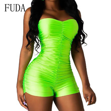 FUDA Rompers Womens Sexy Sleeveless Off Shoulder Playsuits Elegant Hollow Out Bodycon Bandage Jumpsuits Summer Skinny Bodysuits