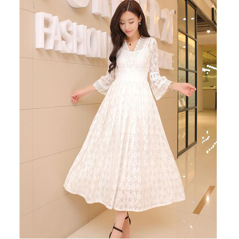 Spring Casual Vintage Long Elegant Dress Women Maxi Ankle Length Party Festival Prom Gown Female Vestidos