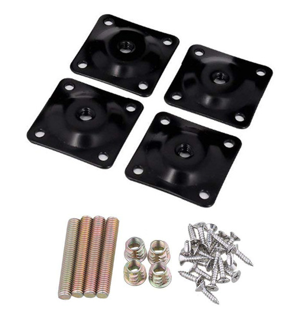 4Pcs Iron 48x48mm Black Soft Table Chair Feet Attachment Plates Color Furniture Leg Mounting Plates With Hanger Bolts Adapters