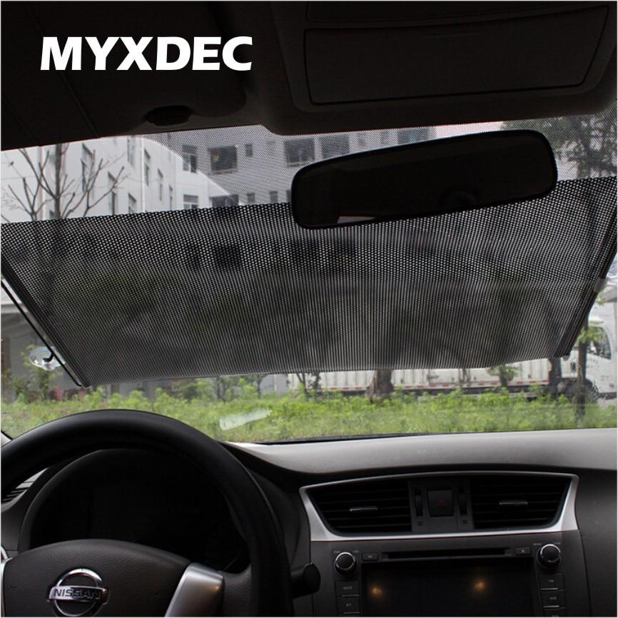 Auto Retractable Silver/Black UV Protection Front Windshield SunShade Car PullRoll Rear Rewinding Visor Cover Sunshield