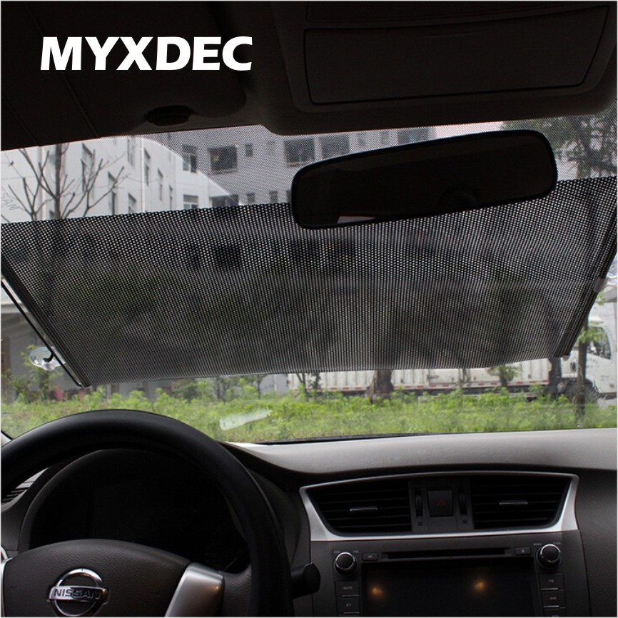 Auto retráctil plata/Negro protección UV parabrisas delantero sunshade car pullroll rear rebobinado visor cubierta sunshield