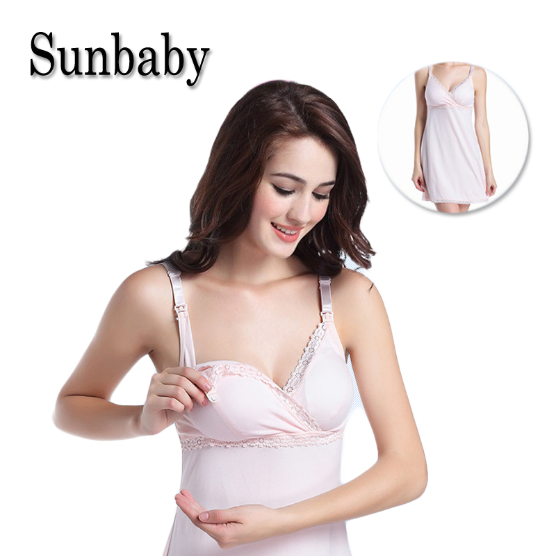 Sunbaby Summer Nice Soft 100% Cotton Fabric Nursing Night Dress For Pregnant Women Singlet Breastfeeding Sleepwear <font><b>D518</b></font> image