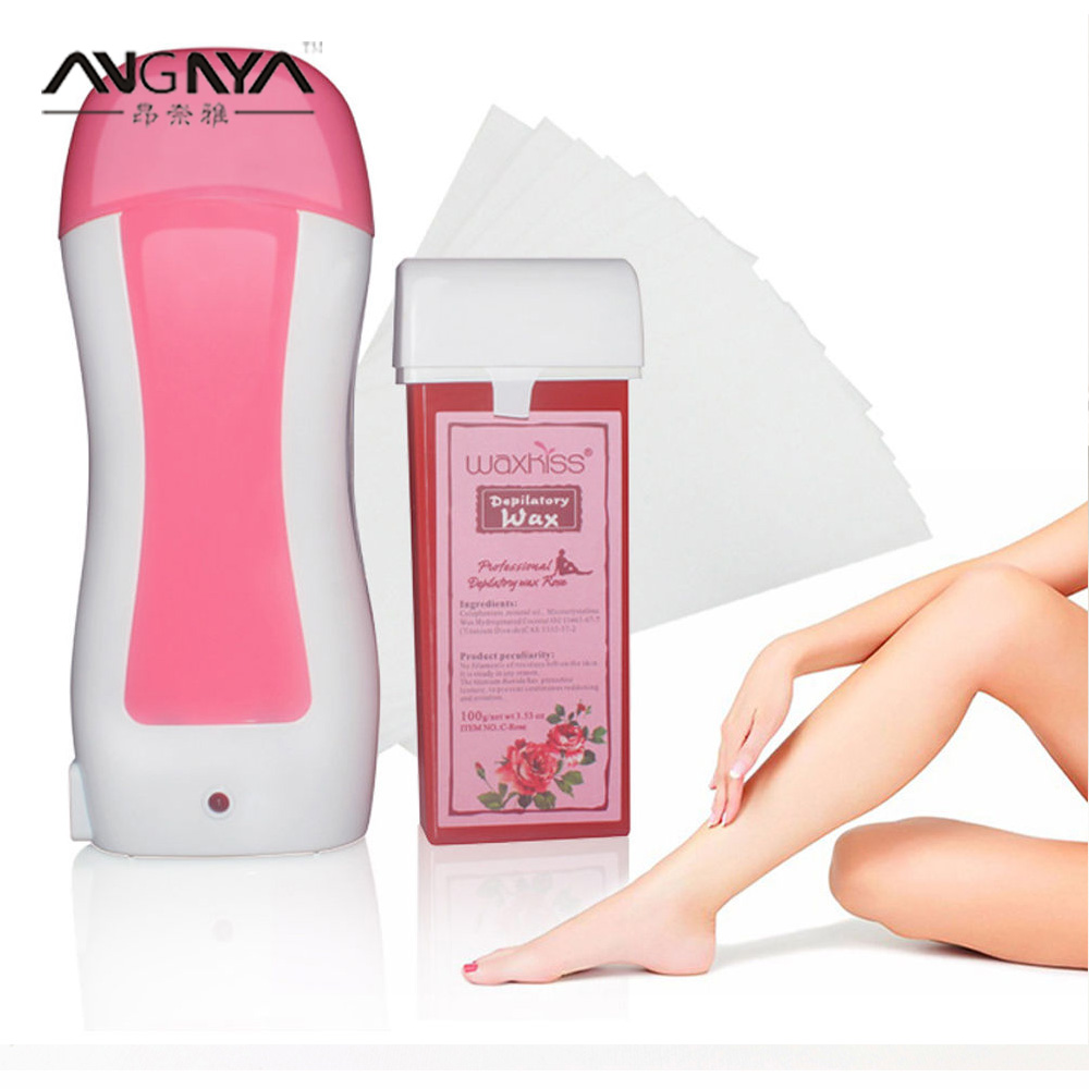 Depilatory Suit Epilator Waxing Heater For Roll-On Hair Removal+Portable Cartridge Hot Wax Waxing Heater * 1+Depilation Paper*10 professional single handheld depilatory wax hair removal machine portable epilator roll on depilatory heater