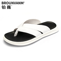 personality white trend slippers men non slip outside wearing summer outdoor mens flip flop sandals Genuine Leather cowhide