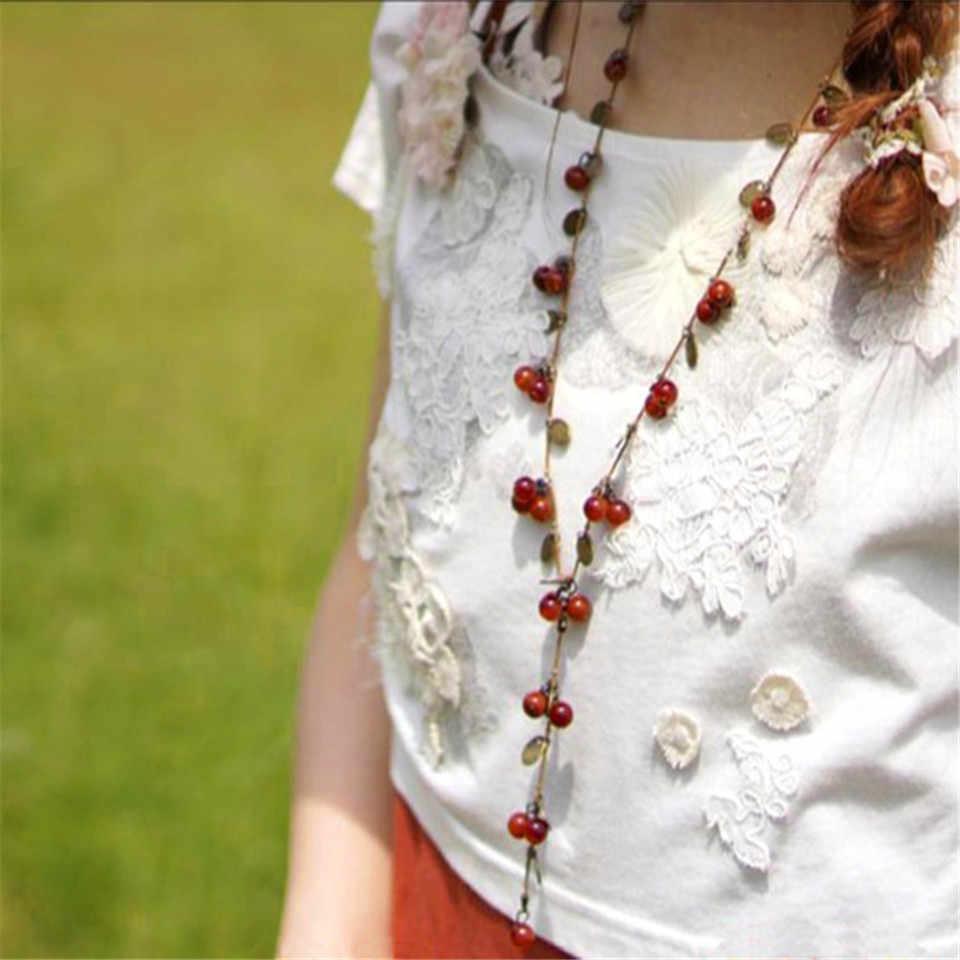 2018 New fashion długi łańcuch sweter biżuteria dla kobiet koreański trendy piękny winorośli czerwony wiśnia naszyjnik z koralików wisiorek akcesoria