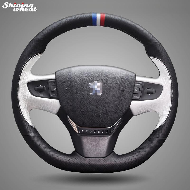 Ручной работы Черный Белый Кожа Автомобилей Руль Обложка для Peugeot 408 2014-2015
