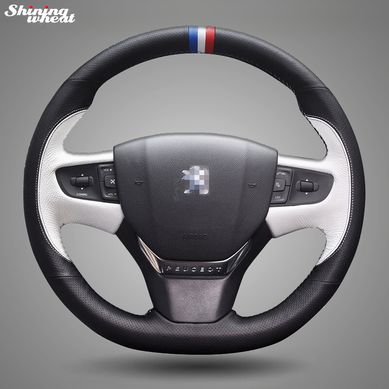 Shining wheat Hand-stitched Black White Leather Car Steering Wheel Cover for Peugeot 408 2014-2015 special hand stitched black leather steering wheel cover for vw golf 7 polo 2014 2015