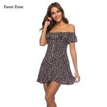 Ruffles Strapless Short Women Dress Summer Floral Print Boho Beach Sleeveless Evening Party Dresses Tunic Sexy Sundress