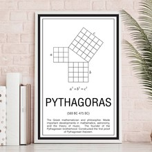 Abstract Black White Poster Maths Education Canvas Painting Nursery Baby Room Decor Mathematicians Pythagoras Wall Art Picture(China)