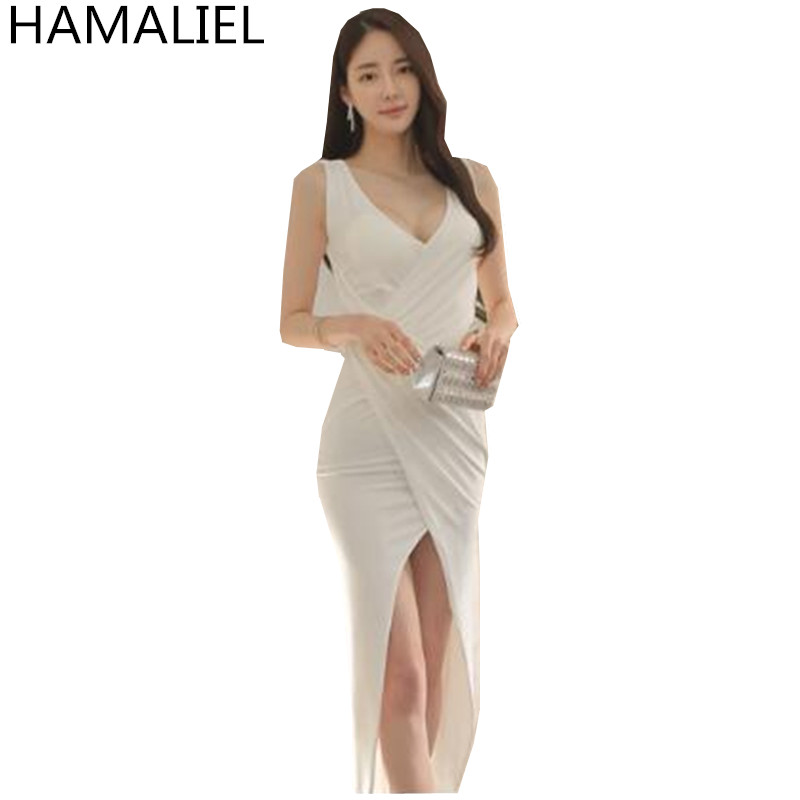 Summen Women's Party Dress 2017 Sheath White Sexy Sleeveless Overlapping Goddess Slim V Neck Bodycon Asymmetrical Long Dress