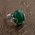 GZ 925 Sterling Silver Ring Natural Green Chalcedony anillos S925 Thai Silver Rings for women Jewelry Male Men
