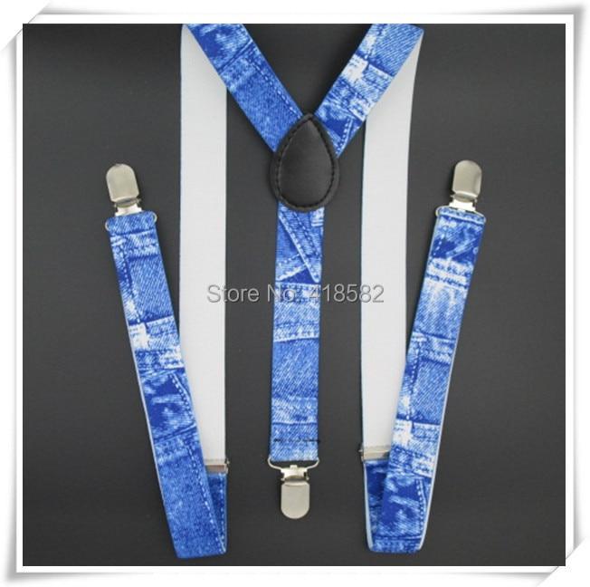 BD021--Cool Men Suspenders Denim Print Color Suspenders 100cm Length 2.5 Width 3 Clips Women Braces Free Shipping