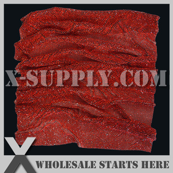 3mm Lt.Siam(Red) Rhinestone Mesh Sheet without Glue in Black Plated Alumminum Base,