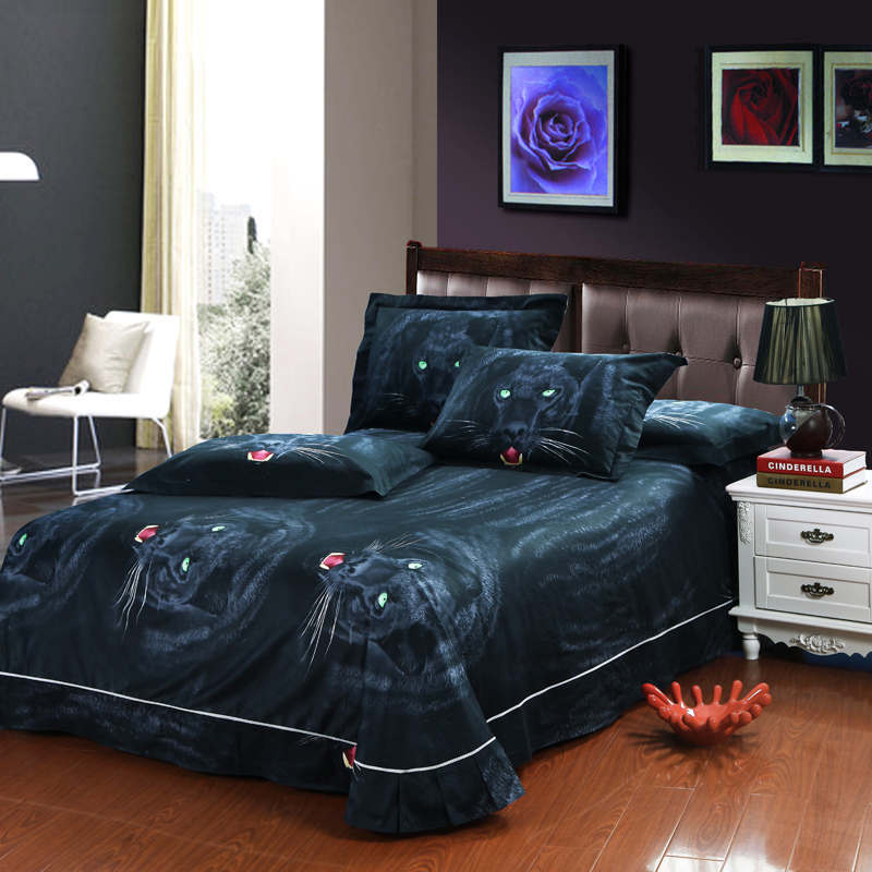 Black Panther Animal Print 3d Oil Painting Bedding Set Queen Size For Boyu0027s Home  Decor Egyptian Cotton Bed Linens Sheet Textile In Bedding Sets From Home ...