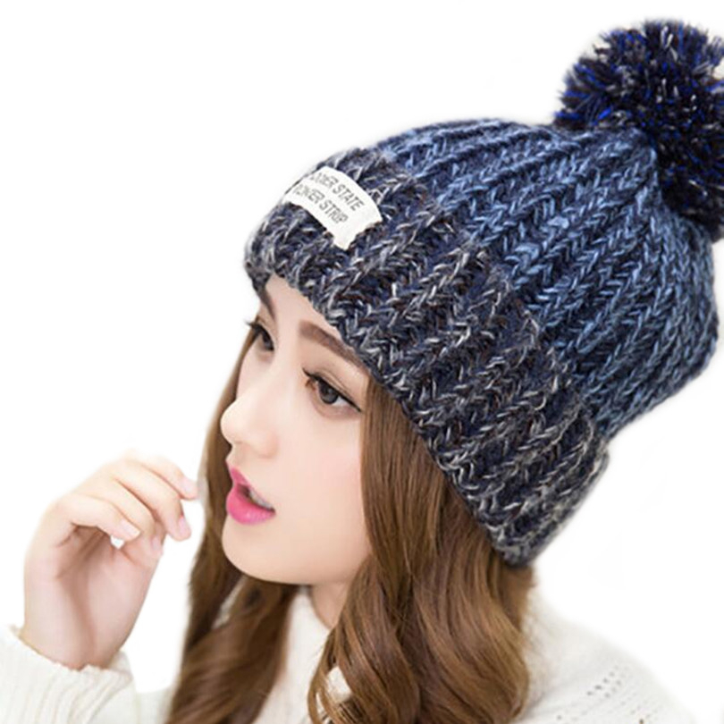 New Letter Skullies Women Beanies Winter Warm Hat Knitting Cap Soft Crochet Wool Fur State Blue Red Pink Beige Hat M058
