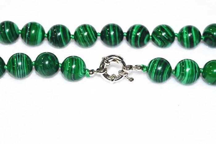 Women Gift word Love New 10mm Green Gorgouese Malachite Gem Round Beads Necklace 18 WW silver-jewelry