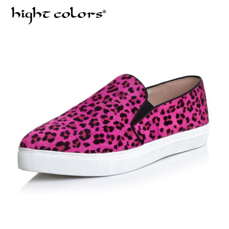 Women Platform Flats Pointed Toe Loafers Shoes Black Purple Leopard Horsehair Leather Slip on Casual White Sole Ladies Shoes недорго, оригинальная цена