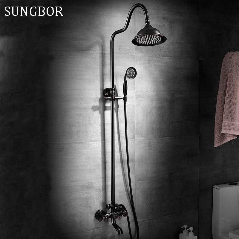 Bathroom 8 Rainfall Shower Faucet Set Black Bronze Dual Handle Bath Shower Mixer Taps Wall Mounted with Handshower HS-5580H rainfall wall mounted shower set bathroom shower mixer faucet with 8 inch shower head bath shower set