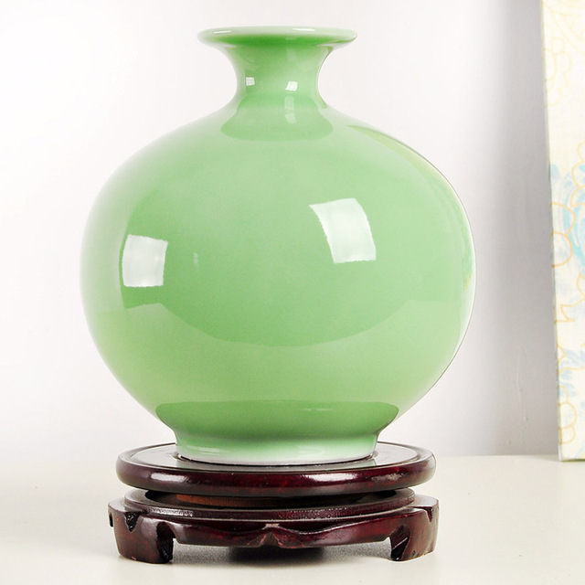 European Home Decoration Ceramic Vase Gourds Pea Green Color Jingdezhen Porcelain Small Decorative Vases