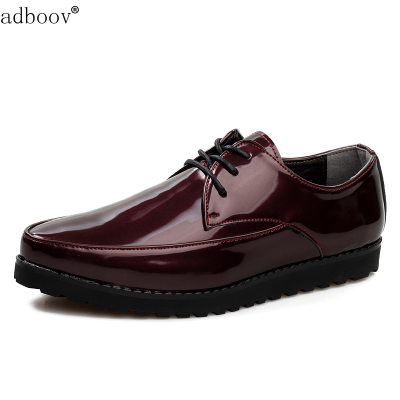 glossy tide burgundy orange color leisure shoes for man patent leather party shoes fashion japanned leather boys stylish shoes