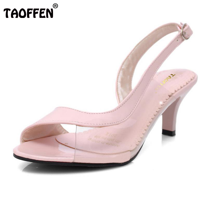 TAOFFEN Women High Heel Sandals Peep Open Toe Shoes Woman Sexy Ladies Heels Sandalias Shoes Footwear Size34-39 PA00248 taoffen women high heels sandals real leather peep toe shoes women buckle clear thick heel sandals daily footwear size 34 39