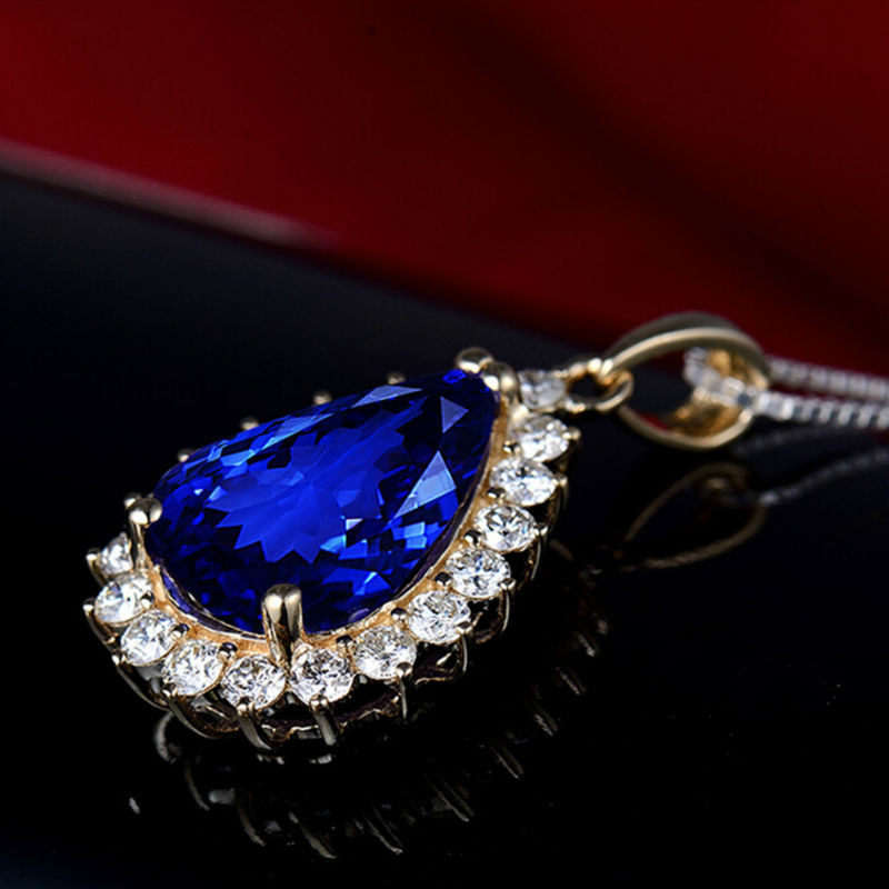 Pera 10x14mm 14Kt Oro Giallo Tanzanite Ciondolo di Diamanti, Naturale AAA Tanzanite Ciondolo, solido Ciondolo In Oro Per Le Donne E0080 - 4