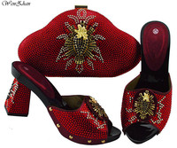 African Wine Party Shoes and Bag Set Decorated with Rhinestone Slip on Women Wedding Shoes Bag and Shoes Set Italy B91 12